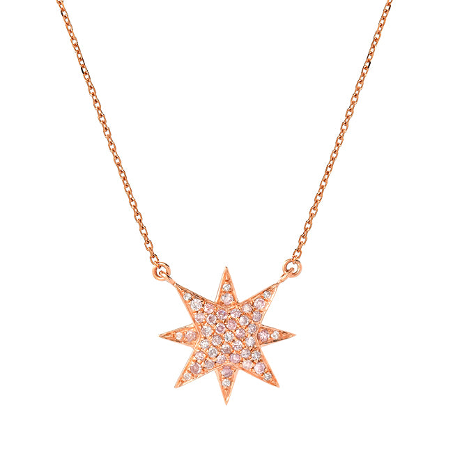 """DIRECTION"" ROSE GOLD NATURAL PINK DIAMOND NECKLACE"
