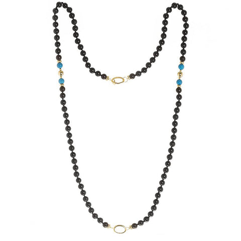 """GIFT 55 - BLACK OBSIDIAN"" YELLOW GOLD AND GEM NECKLACE FOR HIM AND HER"