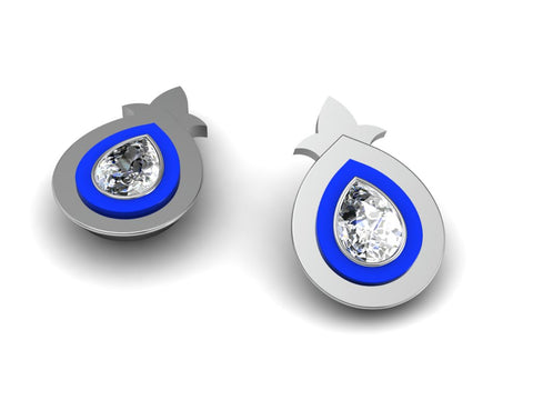 FASHION WHITE GOLD DIAMOND AND ENAMEL STUD EARRINGS