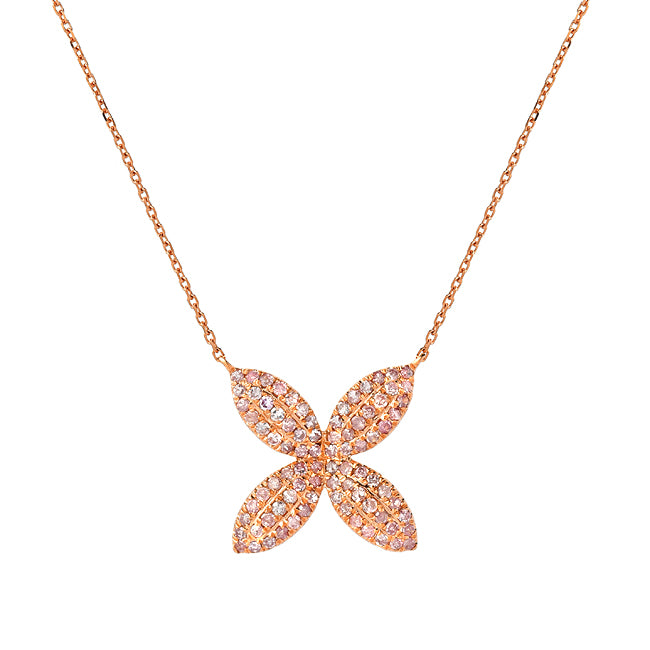 """LOVE FLOWER"" ROSE GOLD NATURAL PINK DIAMONDS NECKLACE"