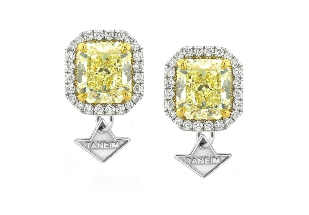 """Stat Earrings Studs"" Natural Yellow Diamond"