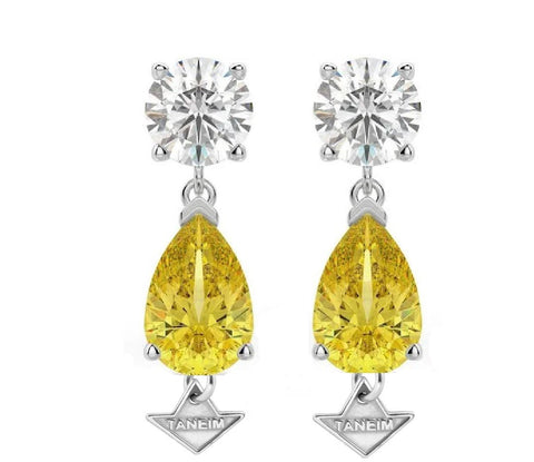 Natural Yellow and White Diamond Star Earrings