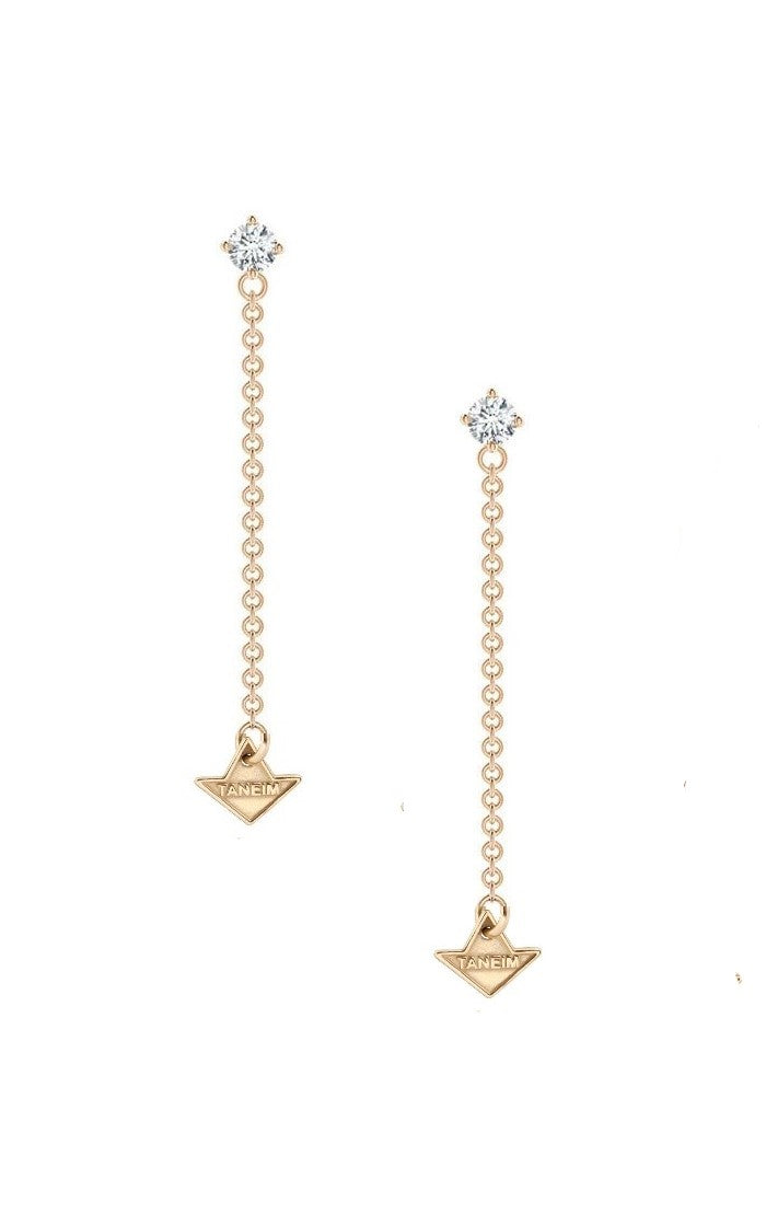 18K Yellow Gold and Diamond Dangling Star Earrings