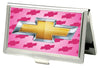 Business Card Holder - SMALL - Chevy Gold Bowtie w/Logo FCG PINK