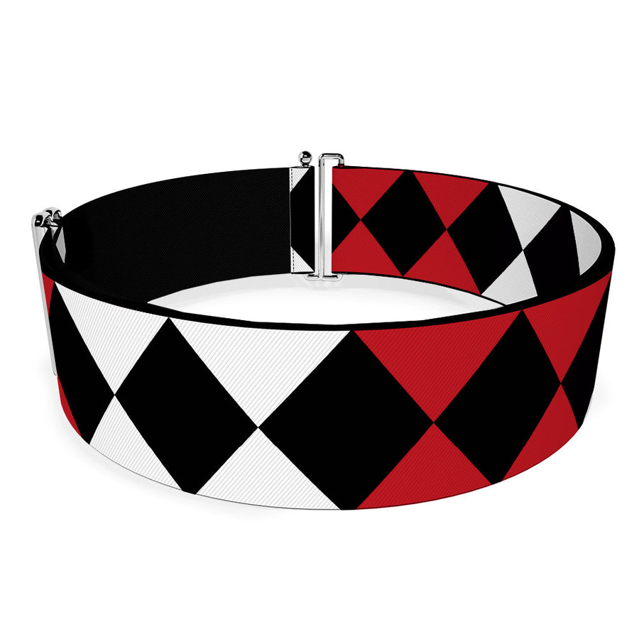 Cinch Waist Belt - Birds of Prey Harley Quinn Diamonds Split White Black Red Black
