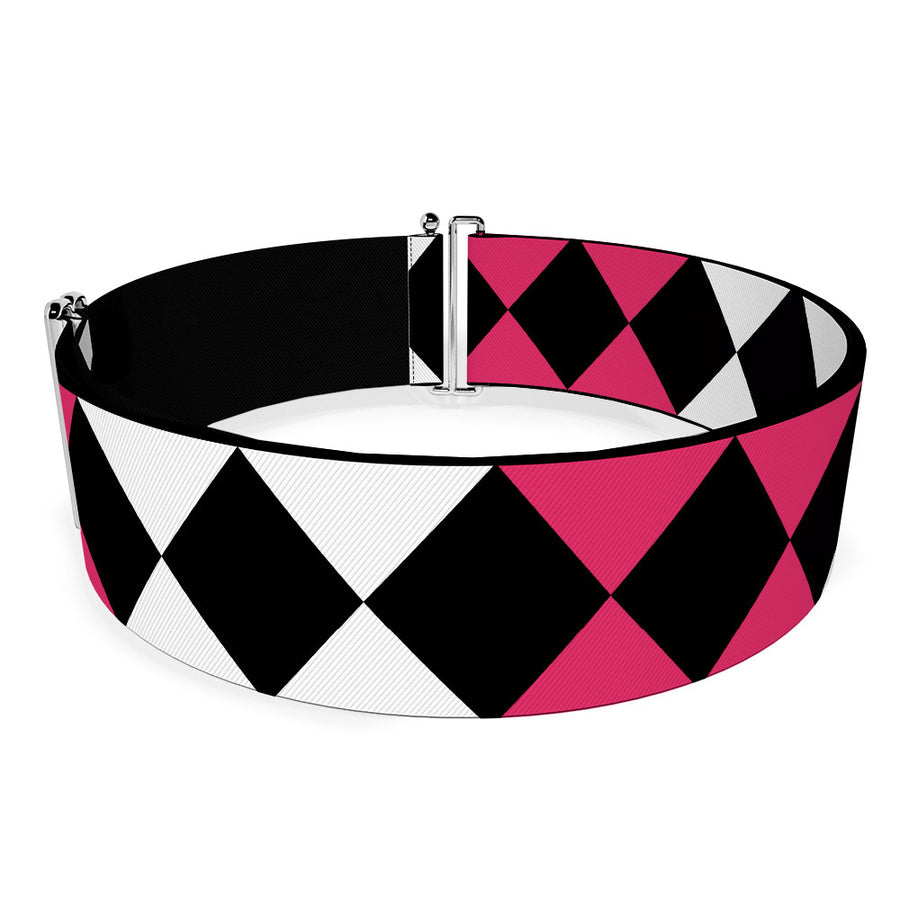 Cinch Waist Belt - Birds of Prey Harley Quinn Diamonds Split White Black Pink Black