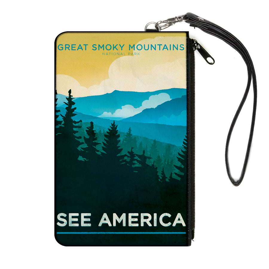 Canvas Zipper Wallet - LARGE - SEE AMERICA-NC GREAT SMOKY MTNS. Landscape Yellows/Blues/White