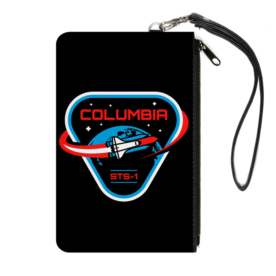Canvas Zipper Wallet - LARGE - COLUMBIA STS-1 Space Shuttle Black/White/Blues/Red