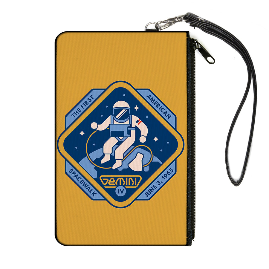 Canvas Zipper Wallet - LARGE - GEMINI IV-THE FIRST AMERICAN SPACEWALK Yellow/Blues