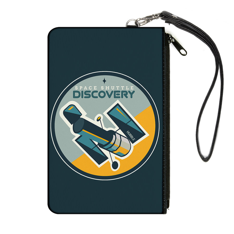 Canvas Zipper Wallet - LARGE - SPACE SHUTTLE DISCOVERY Hubble Telescope2 Blues/Gray/Yellow
