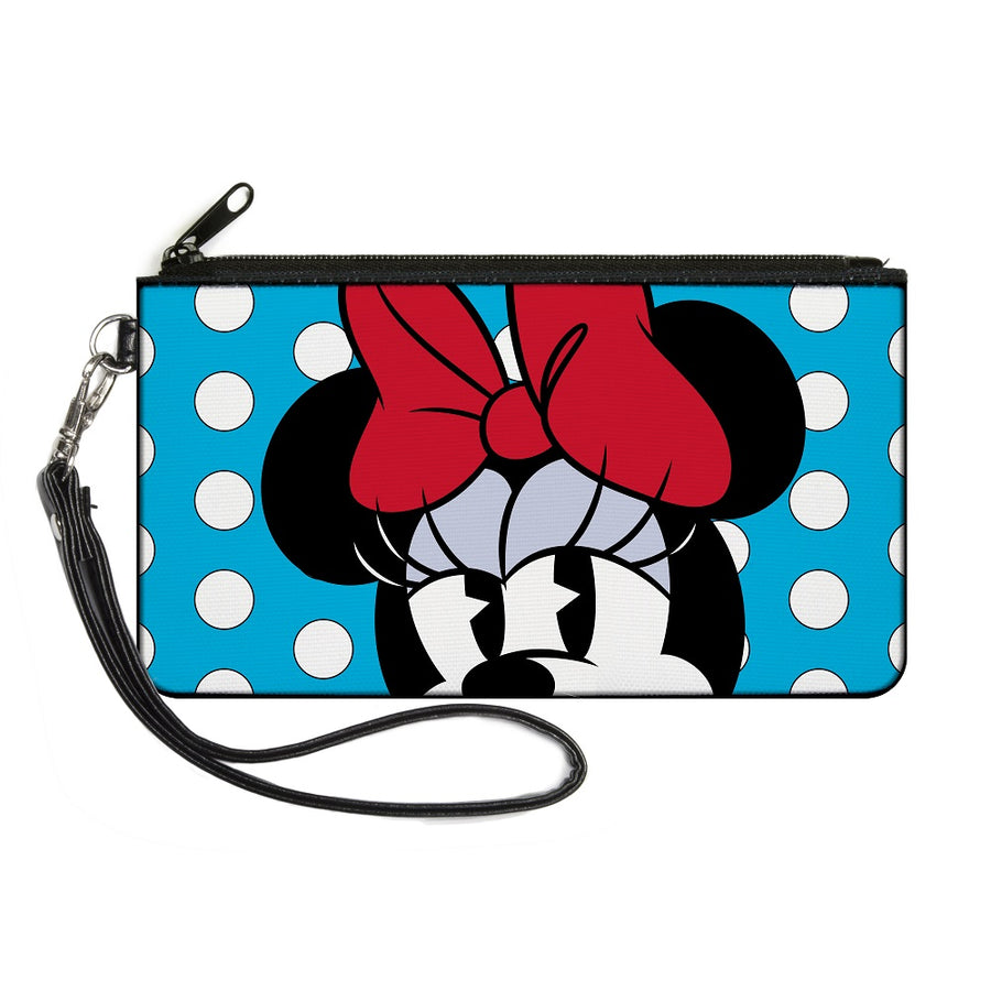 Canvas Zipper Wallet - SMALL - Minnie Style Face CLOSE-UP Dots Blue/White