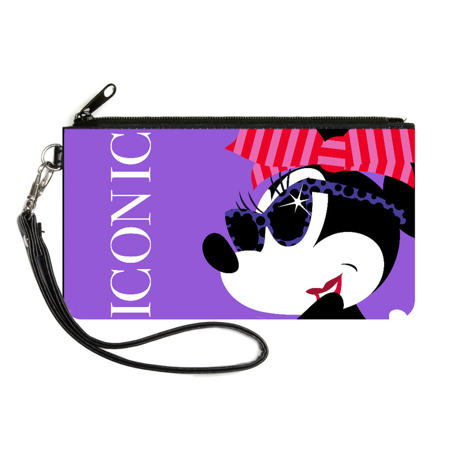 Canvas Zipper Wallet - MINI X-SMALL - ICONIC Hollywood Minnie Over Shoulder Pose CLOSE-UP Purples/White