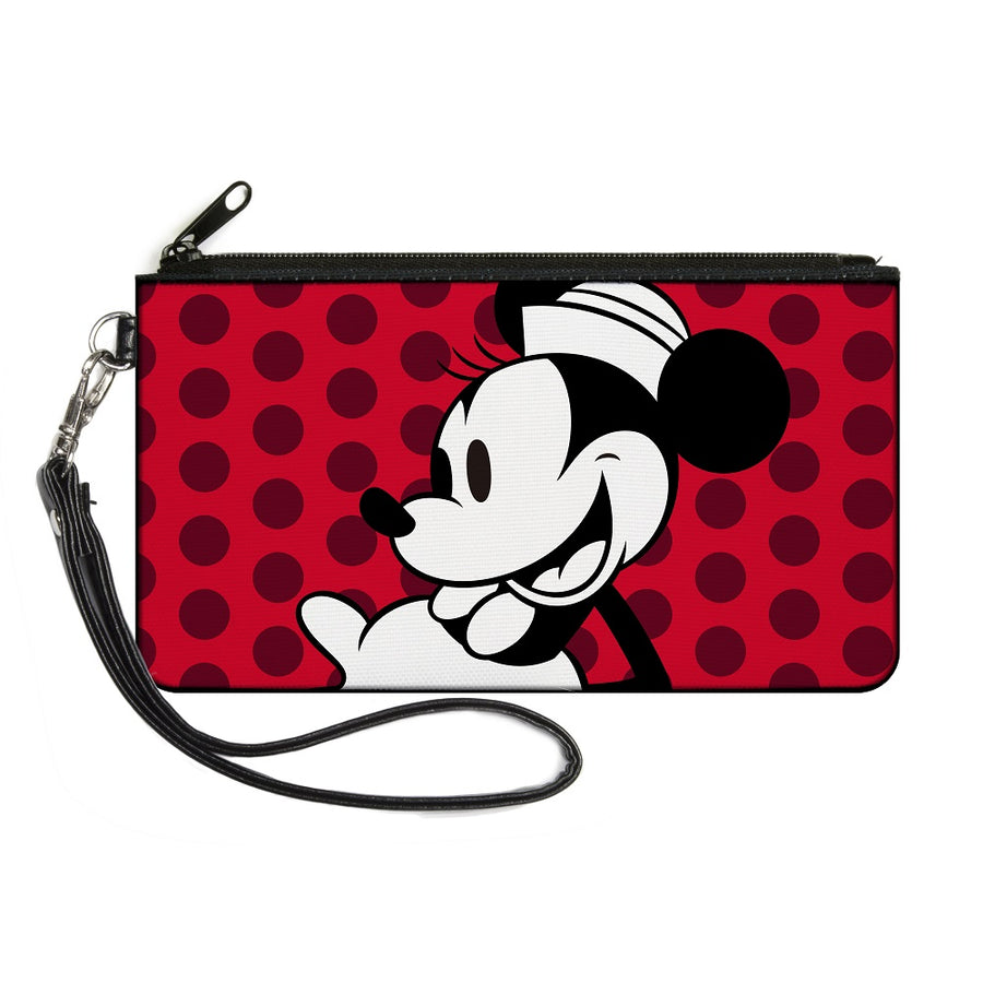 Canvas Zipper Wallet - LARGE - Vintage Minnie Smiling Pose CLOSE-UP Dots Reds/Black/White