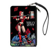 Canvas Zipper Wallet - LARGE - HARLEY QUINN Issue #1 Roller Derby Hammer Cover Pose