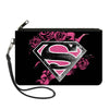 Canvas Zipper Wallet - LARGE - Superman Shield4/Roses Weathered Black/White/Pinks