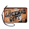 Canvas Zipper Wallet - SMALL - GREETINGS FROM ARKHAM CITY Postcard Tans/City Scenes