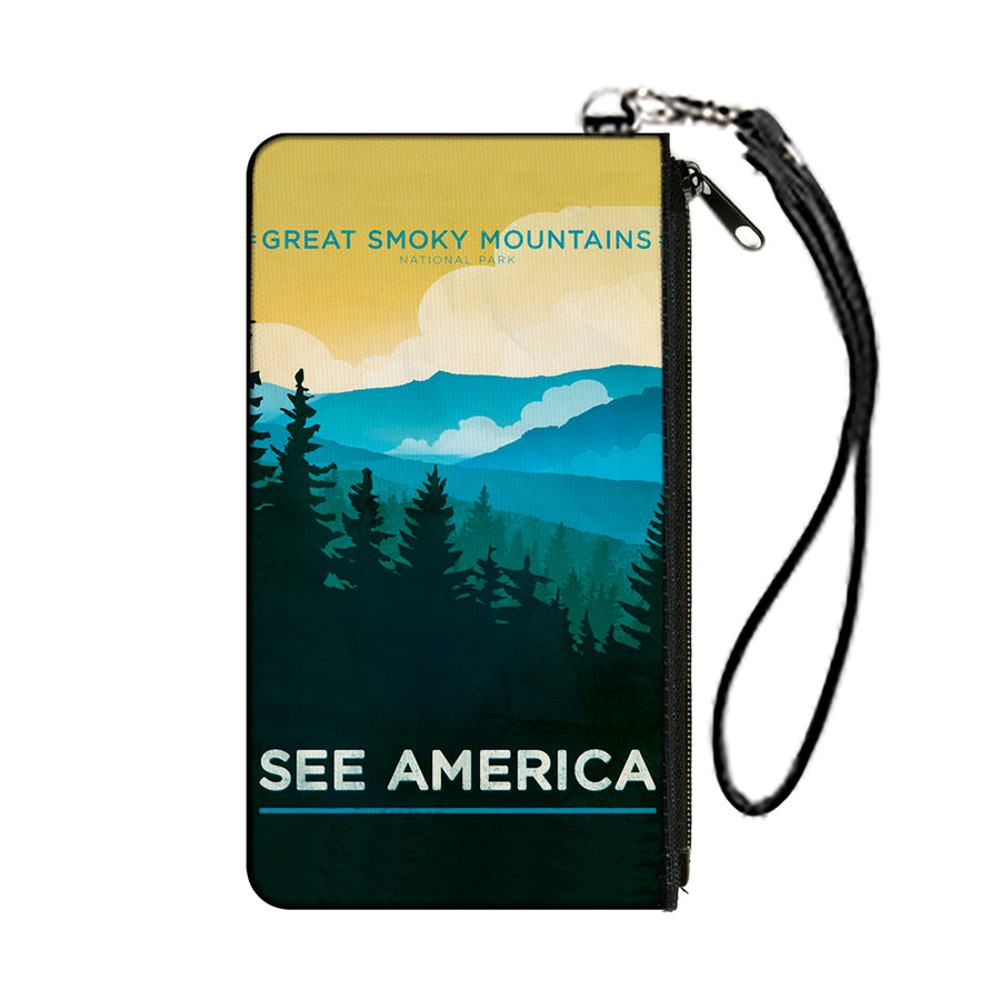 Canvas Zipper Wallet - SMALL - SEE AMERICA-NC GREAT SMOKY MTNS. Landscape Yellows/Blues/White