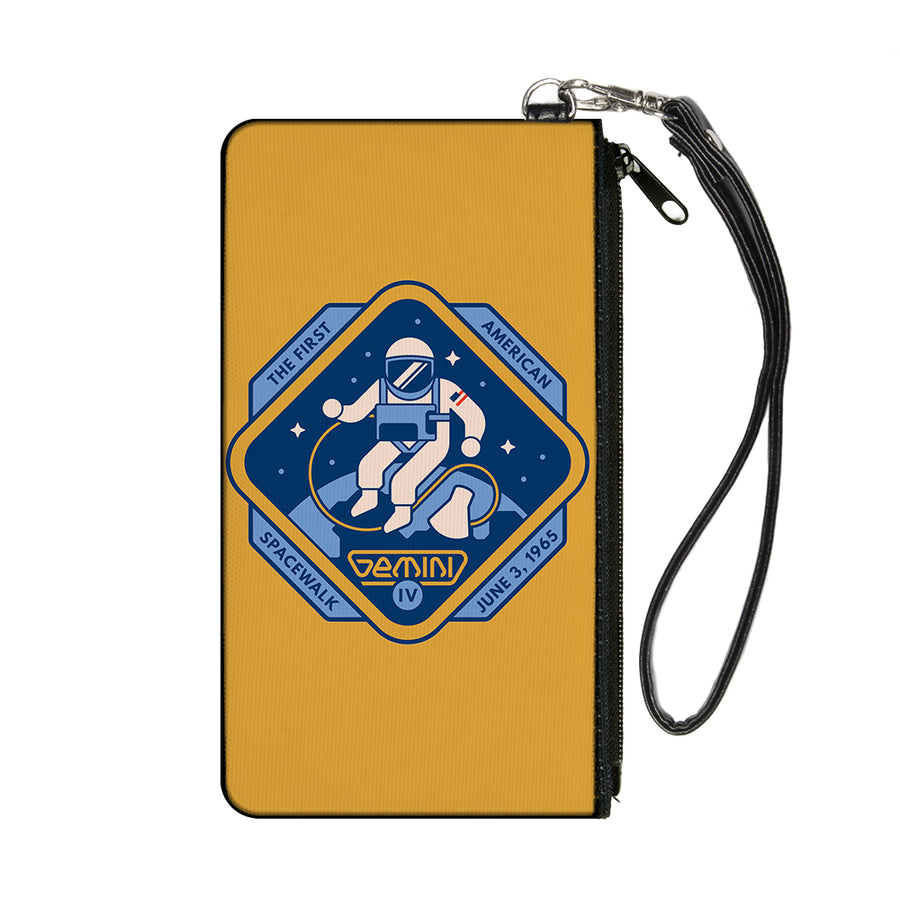Canvas Zipper Wallet - SMALL - GEMINI IV-THE FIRST AMERICAN SPACEWALK Yellow/Blues