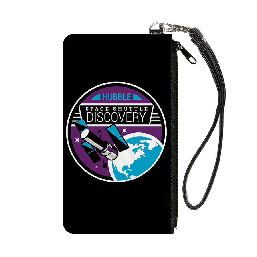 Canvas Zipper Wallet - SMALL - SPACE SHUTTLE DISCOVERY Hubble Telescope Black/White/Purple/Blue