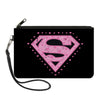 Canvas Zipper Wallet - SMALL - Superman Heart Shield Black/Pinks
