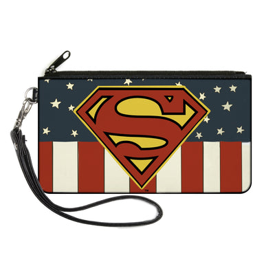 Canvas Zipper Wallet - SMALL - Superman Shield Americana Red/White/Blue/Yellow