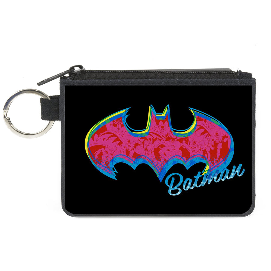 Canvas Zipper Wallet - MINI X-SMALL - BATMAN Icon/Batman Pose Fill Black/Yellows/Blues/Pinks