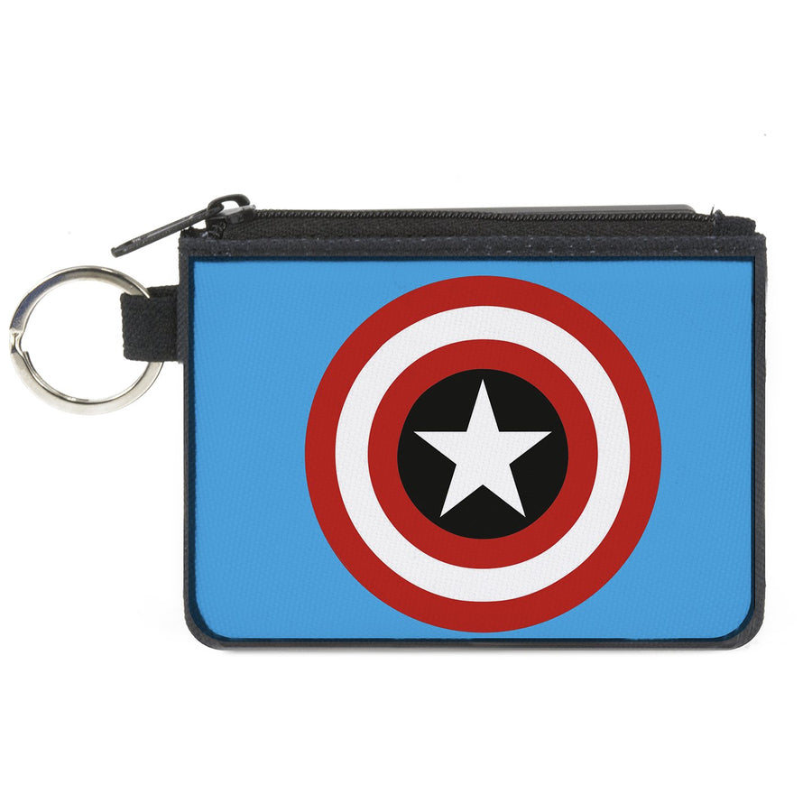 MARVEL COMICS   Canvas Zipper Wallet - MINI X-SMALL - Captain America Shield Blue