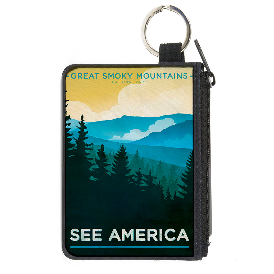 Canvas Zipper Wallet - MINI X-SMALL - SEE AMERICA-NC GREAT SMOKY MTNS. Landscape Yellows/Blues/White