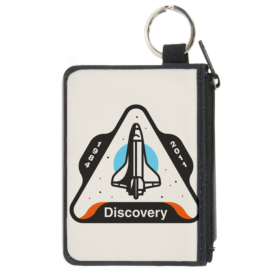 Canvas Zipper Wallet - MINI X-SMALL - SPACE SHUTTLE DISCOVERY 1984-2011 Space Shuttle White/Gray/Blue/Orange