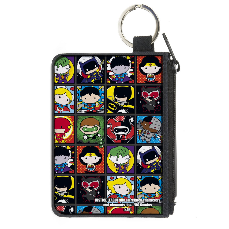 Canvas Zipper Wallet - MINI X-SMALL - Justice League Comics 12-Chibi Character Pose Blocks