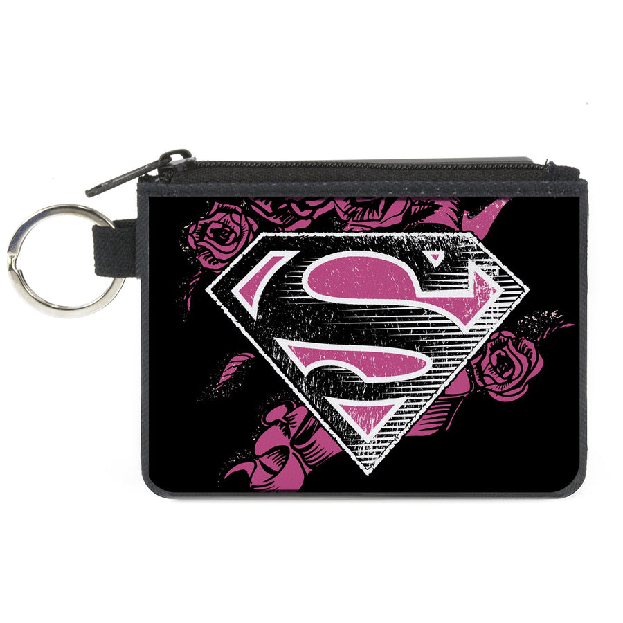 Canvas Zipper Wallet - MINI X-SMALL - Superman Shield4/Roses Weathered Black/White/Pinks
