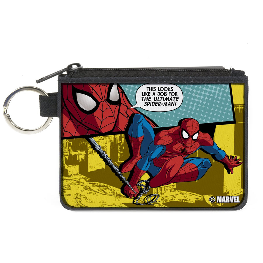 MARVEL UNIVERSE   Canvas Zipper Wallet - MINI X-SMALL - Spider-Man Face/Action Pose Quote Bubble THIS LOOKS LIKE A JOB FOR THE ULTIMATE SPIDER-MAN! Teals/Yellows