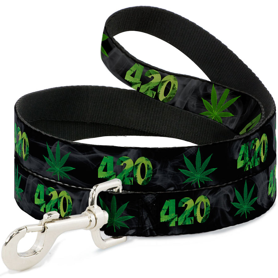 Buckle-Down Dog Leash - 420/Pot Leaf Black/Smoke/Green