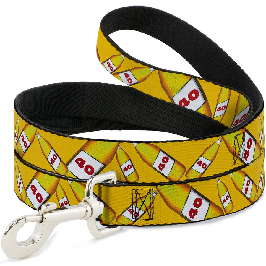 Buckle-Down Dog Leash - 40 Oz. Beer Bottles Yellow