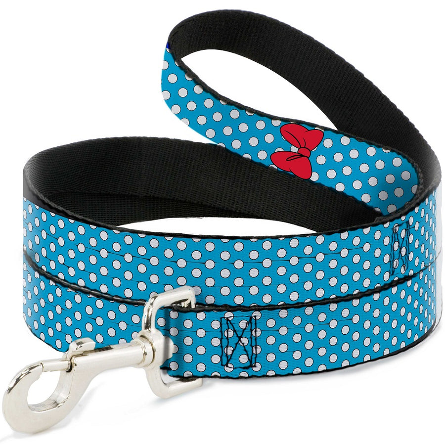 Dog Leash - Minnie Mouse Bow Dots Blue/Black/White/Red