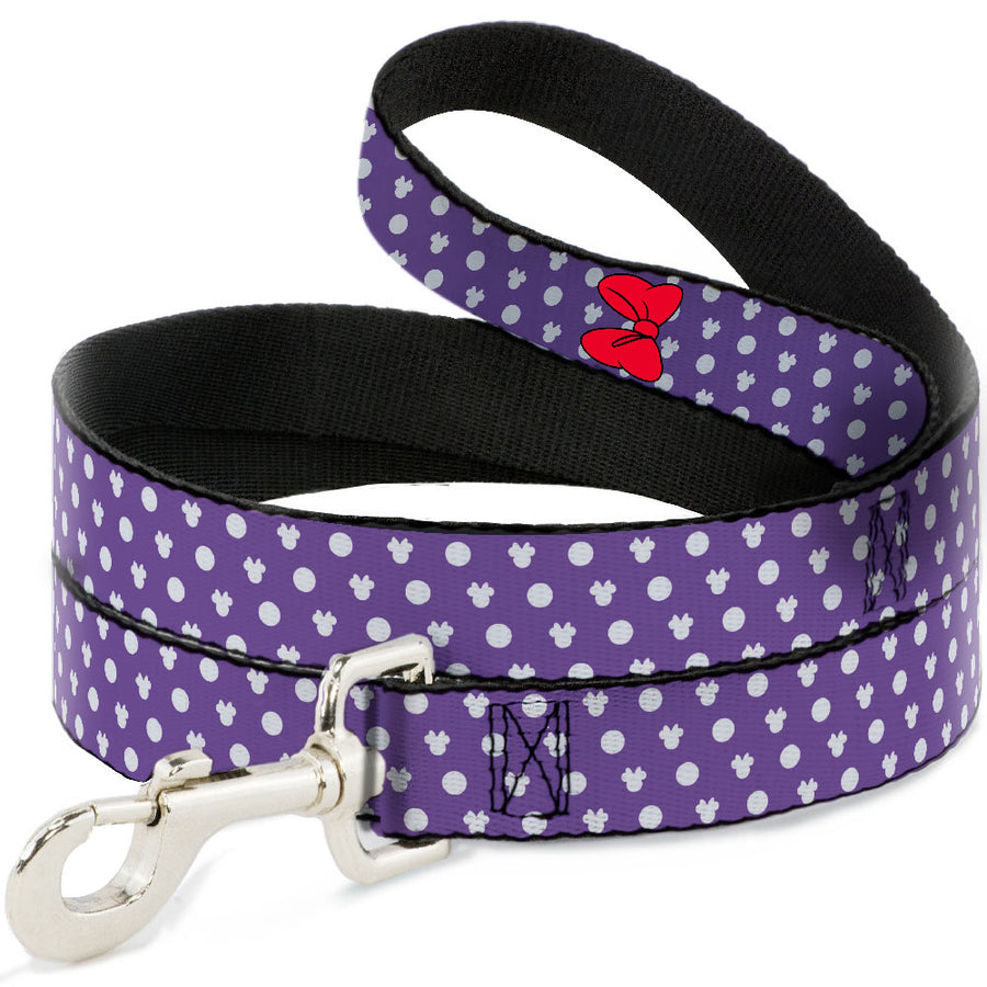 Dog Leash - Minnie Mouse Bow Ears Monogram/Dots Purple/White
