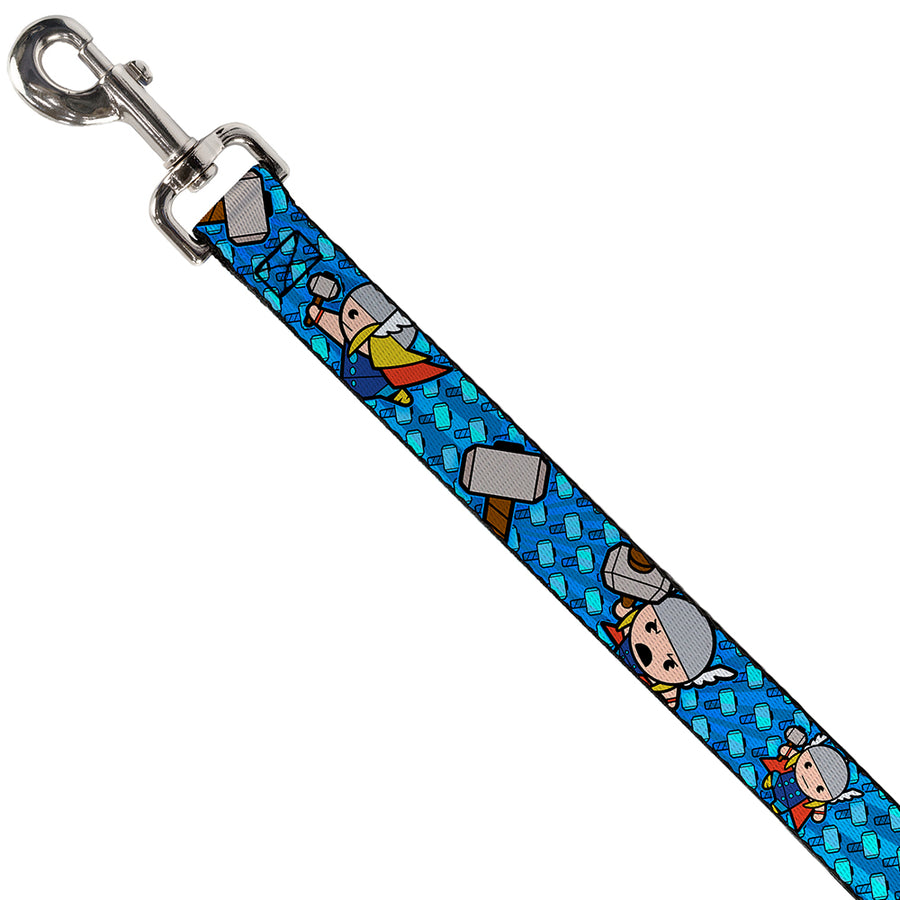 MARVEL UNIVERSE  Dog Leash - Kawaii Thor Poses/Hammer Monogram Blues