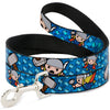 MARVEL UNIVERSE Dog Leash - Kawaii Thor Poses Hammer Monogram Blues