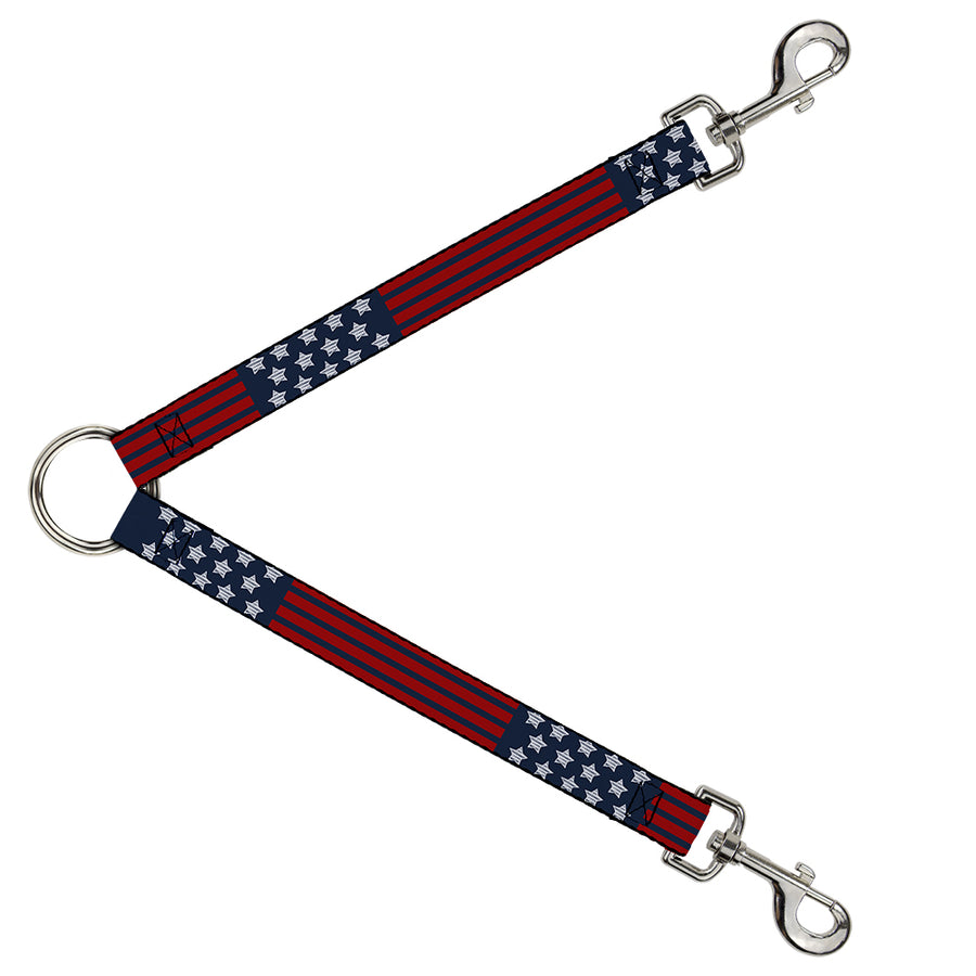 Dog Leash Splitter - Stars & Stripes2 Blue/White/Red