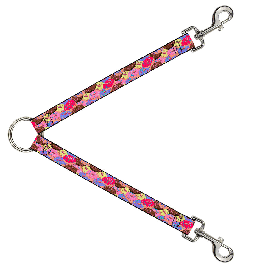 Dog Leash Splitter - Sprinkle Donuts Stacked Multi Color