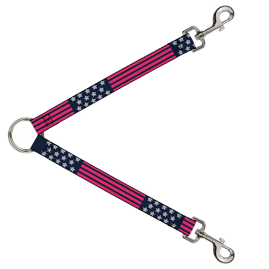 Dog Leash Splitter - Stars & Stripes2 Blue/White/Pink