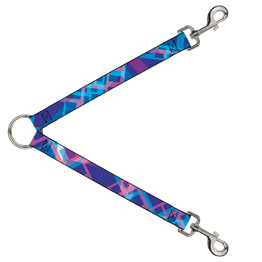 Dog Leash Splitter - Squares Stacked Blues/Pinks/Purples