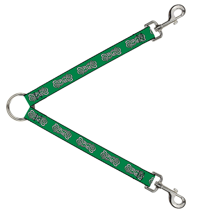Dog Leash Splitter - Celtic Knot2 Greens/Black/White