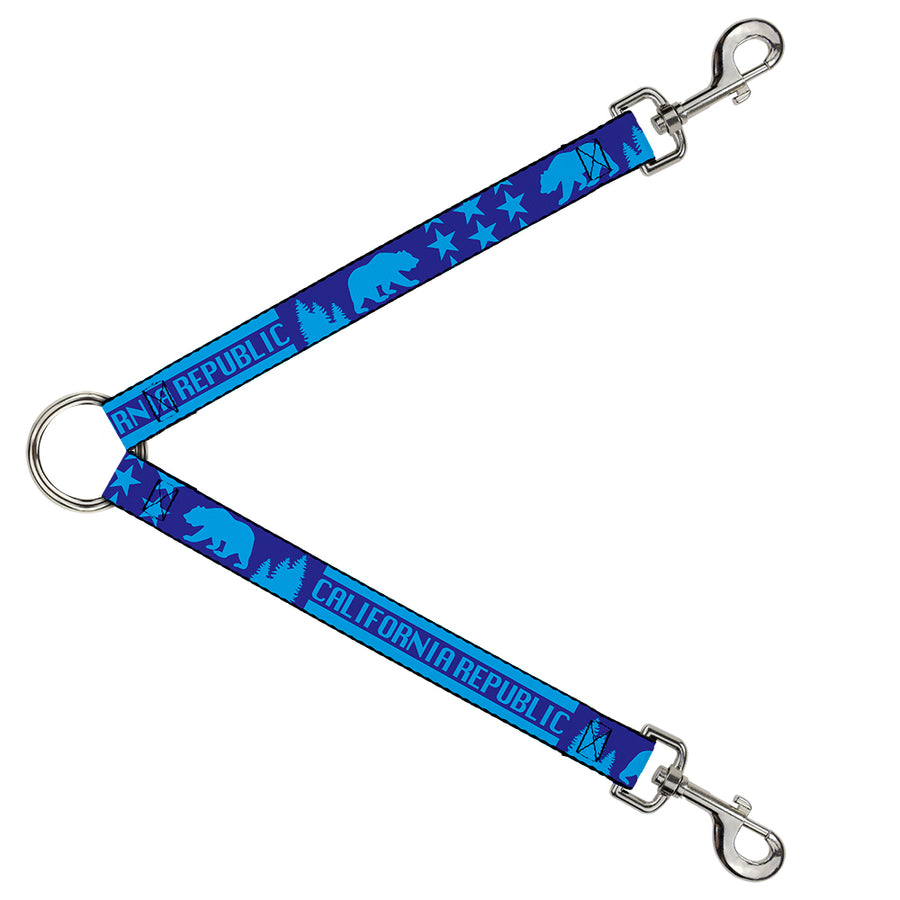 Dog Leash Splitter - CALIFORNIA REPUBLIC/Bear/Stars Silhouette Blues
