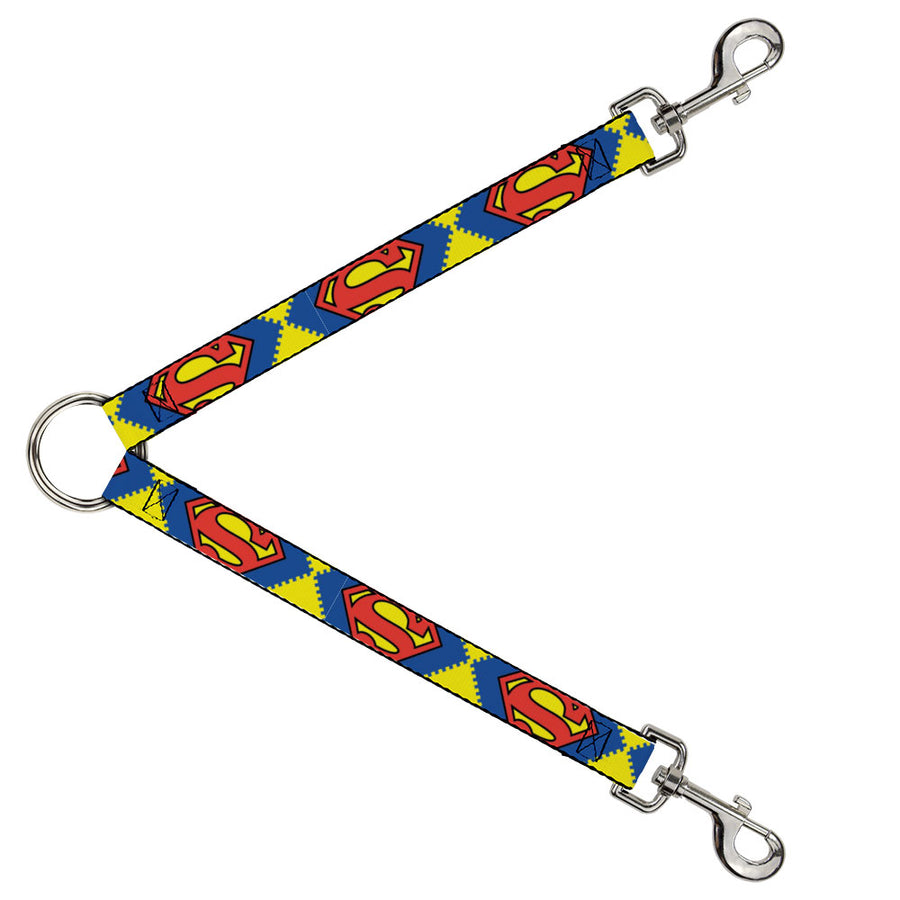 Dog Leash Splitter - Jagged Superman Shield CLOSE-UP Yellow/Blue/Red