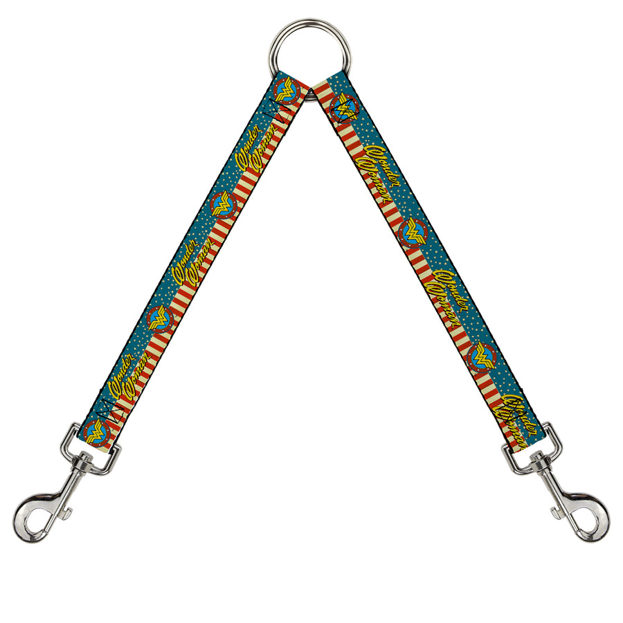 Dog Leash Splitter - WONDER WOMAN/Logo Americana Red/White/Blue/Yellow