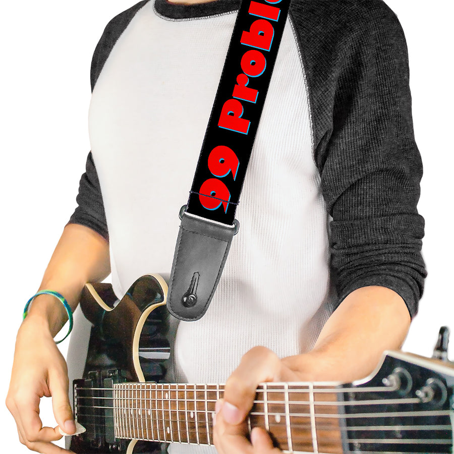 Guitar Strap - 99 PROBLEMS Black/Red