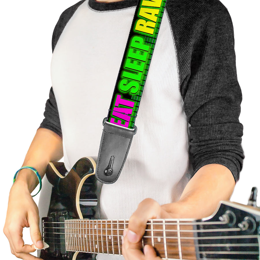 Guitar Strap - EAT SLEEP RAVE REPEAT Black/Multi Neon