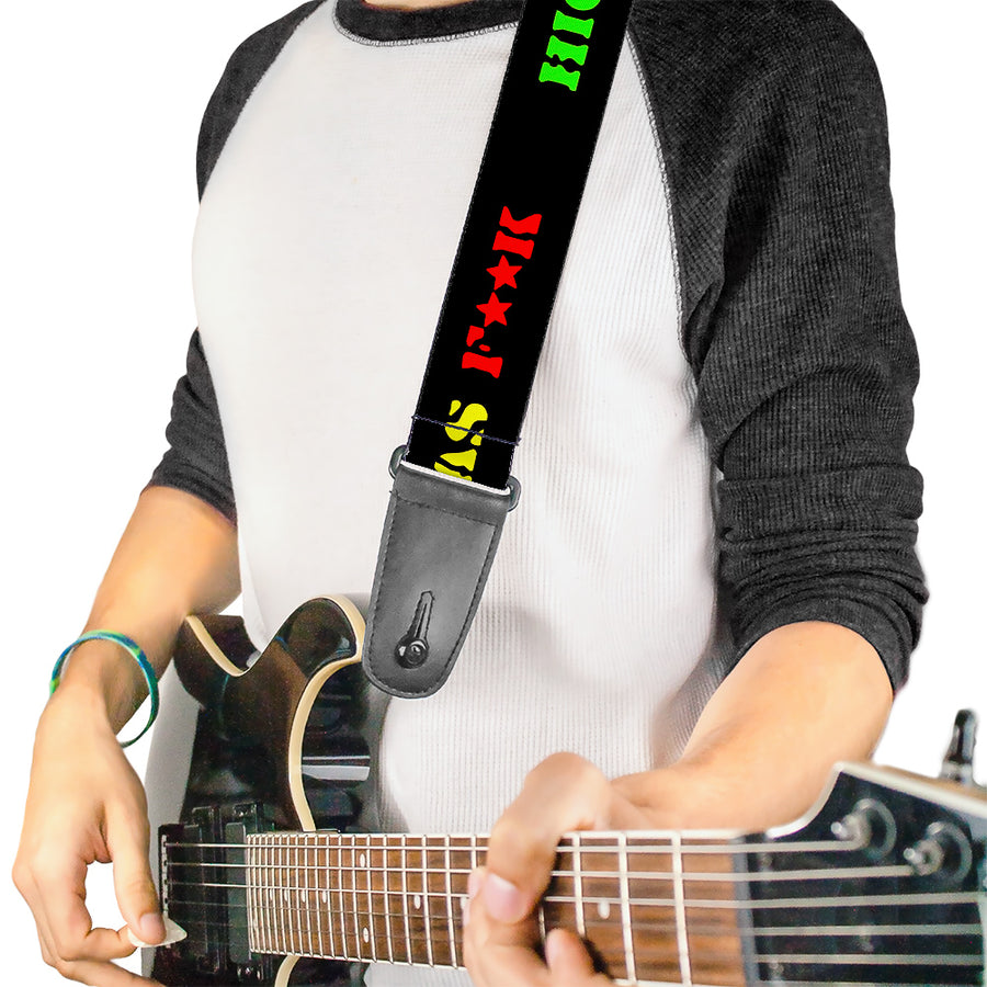 Guitar Strap - HIGH AS F**K Black/Green/Yellow/Red