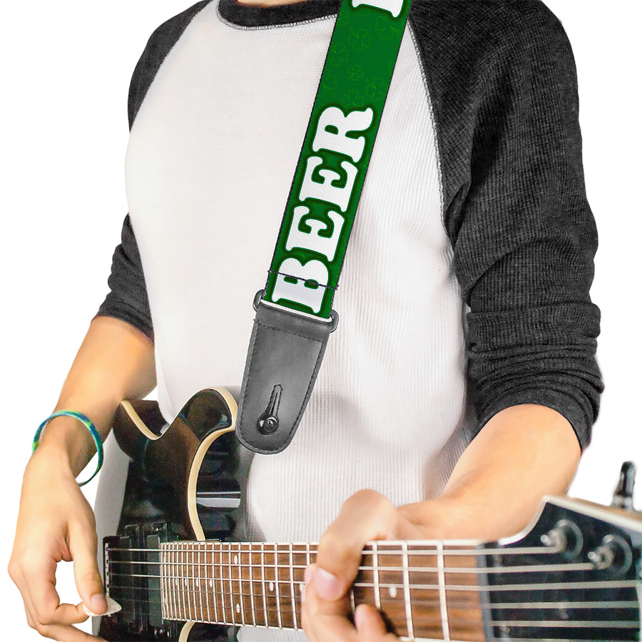 "Guitar Strap - I ""Clover"" BEER/Clover Outlines Greens/White"